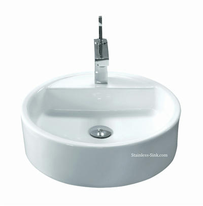 Sienna white vessel sink -   bathroom porcelain china top mount SIE-422-DOM