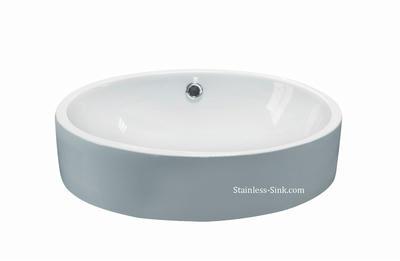 Sienna white vessel sink -   bathroom porcelain china top mount SIE-426-DOM