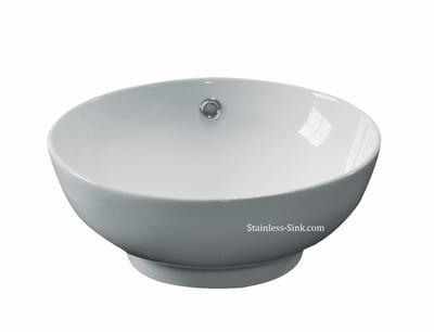 Sienna white vessel sink -   bathroom porcelain china top mount SIE-440-DOM