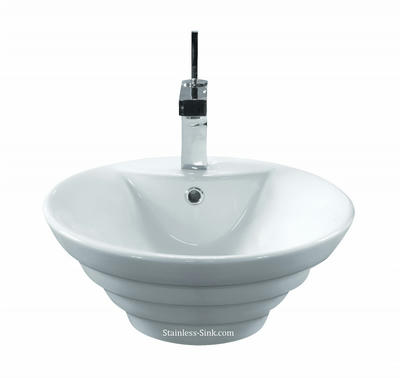 Sienna white vessel sink -   bathroom porcelain china top mount SIE-460-DOM