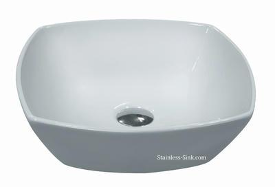 Sienna white vessel sink -   bathroom porcelain china top mount SIE-503-DOM