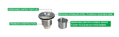 """Strainer Basket Assembly with Retractable Bin 3 1/2"""""""