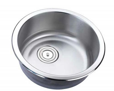 "18"" Torino Round Top-Mount or Undermount Stainless Steel Single Bowl  Kitchen, Bar, Prep Sink Torino-127 - WITH FREE ACCESSORIES"