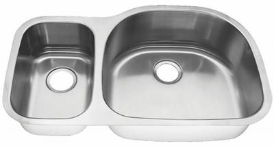 "35"" Ellis 30/70 Undermount Stainless Steel Double Bowl Sink EL-0405D-Reverse"