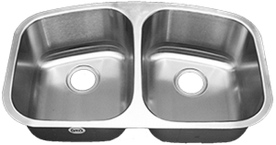 "31"" Ellis 50/50 Undermount Stainless Steel Double Bowl Kitchen Sink 16 Gauge EL-V550"