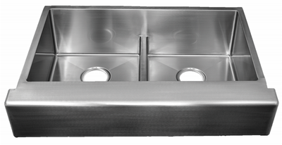 "30"" ""Trim Conceal"" Undermount Apron Flat Front Stainless Steel Double Bowl Sink designed for a 30"" Standard Sink Base Cabinet NZR-3022DB-TCA"