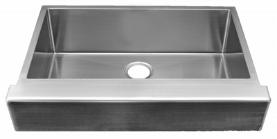 "33"" ""Trim Conceal"" Undermount Apron Flat Front Stainless Steel Single Bowl Sink designed for a 33"" Standard Sink Base Cabinet NZR-3322-TCA"