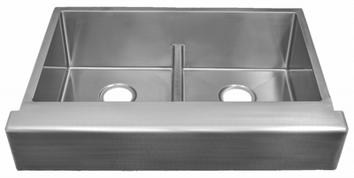 "33"" ""Trim Conceal"" Undermount Apron Flat Front Stainless Steel Double Bowl Sink designed for a 33"" Standard Sink Base Cabinet NZR-3322DB-TCA"