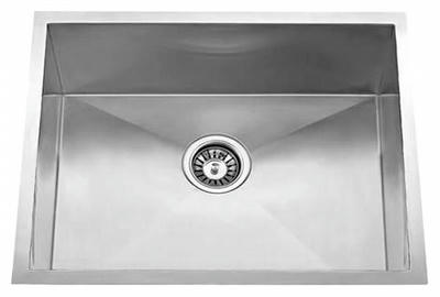 "23"" Zero Radius Undermount Stainless Steel Single Bowl Sink 15 Gauge ZR-2318"