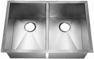 "32"" Zero Radius Undermount Stainless Steel Double Bowl Kitchen Sink 15 Gauge ZR-3219-DB"
