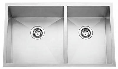 "33"" Zero Radius Undermount Stainless Steel Double Bowl Sink 60/40 15 Gauge ZR-3320A"