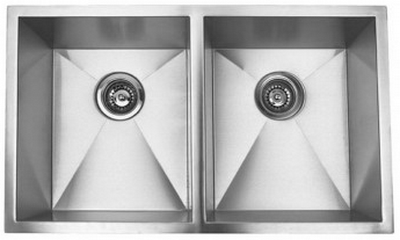 "37"" Zero Radius Undermount Stainless Steel Double Bowl Kitchen Sink 15 Gauge ZR-3720"