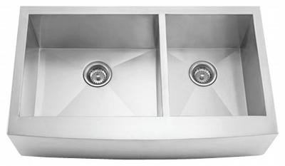 "33"" Zero Radius Curved Front Stainless Steel Double Bowl Apron Sink 15 Gauge ZRA-3320"