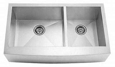 "36"" Zero Radius Curved Front Stainless Steel Double Bowl Apron Sink 15 Gauge ZRA-3620DB"