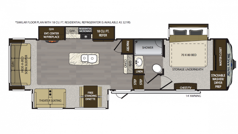 2018 Avalanche 320RS Floor Plan