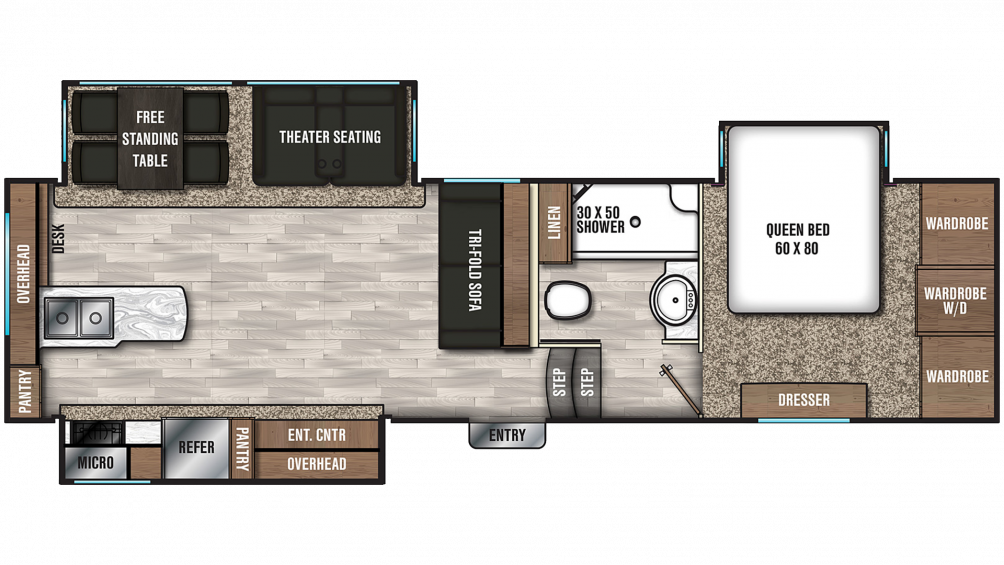 2019 Chaparral 27RKS Floor Plan Img