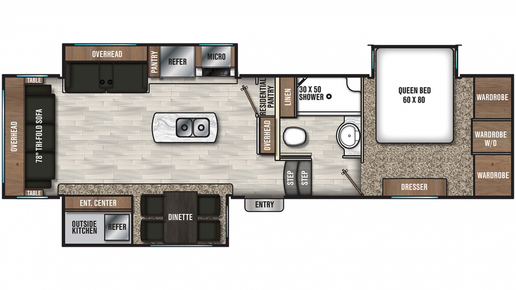 2019 Chaparral 298RLS Floor Plan Img