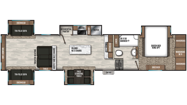 2019 Chaparral 381RD Floor Plan