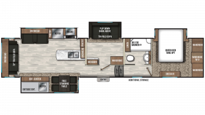2019 Chaparral 391QSMB Floor Plan Img