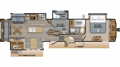 2019 Eagle 357MDOK Floor Plan Img