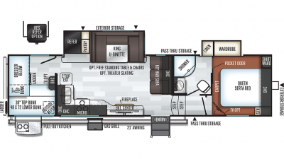 2019 Rockwood Ultra Lite 2891BH Floor Plan Img