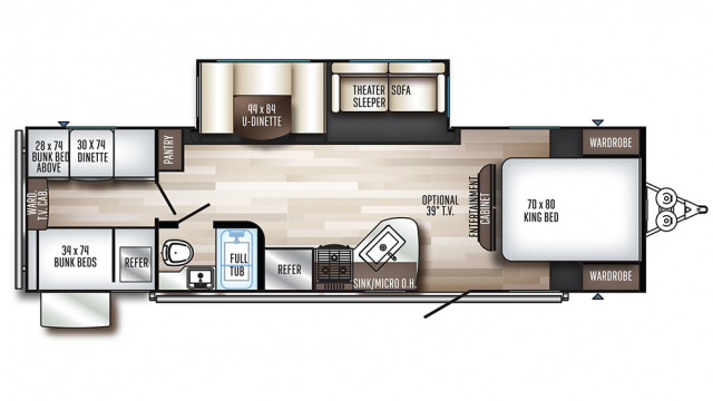 2019 SolAire Ultra Lite 292QBSK Floor Plan Img