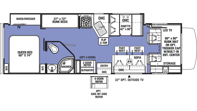 2020 Sunseeker 3270S Floor Plan