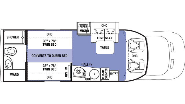 2020 Sunseeker TS 2370D Floor Plan