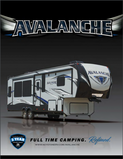 2018 Keystone Avalanche RV Brochure Cover