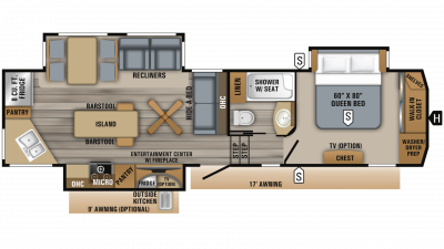 2019 Eagle 319MLOK Floor Plan Img