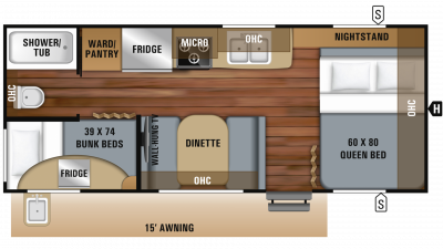 2019 Jay Feather 20BH Floor Plan Img