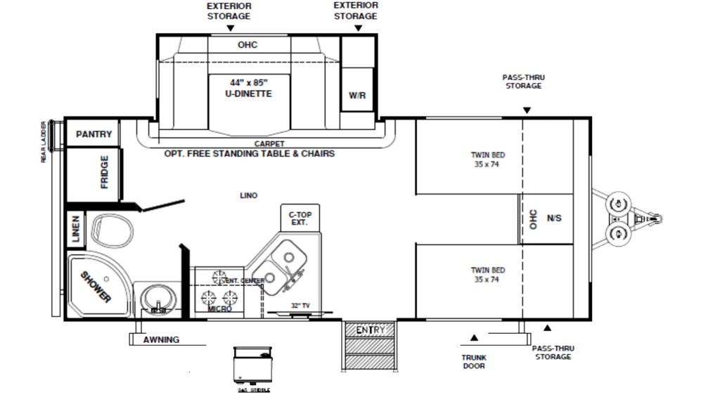 Rockwood Mini Lite 2204S Floor Plan - 2020
