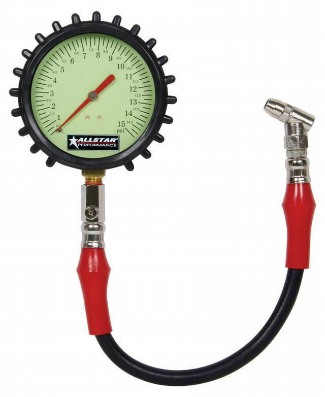 Tire Pressure Gauge 0-15 PSI 4in Glow