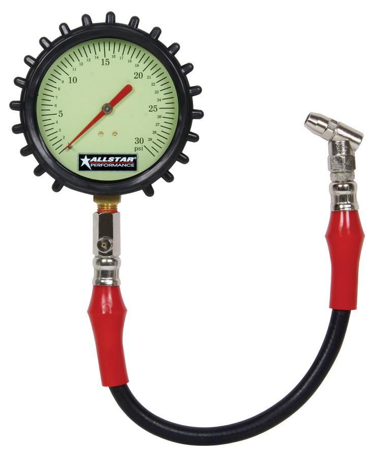 Tire Pressure Gauge 0-30 PSI 4in Glow