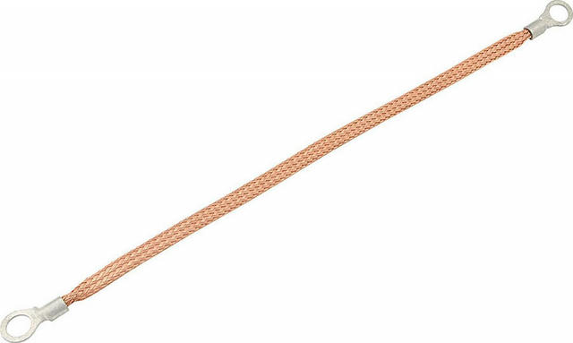 Copper Ground Strap 12in w/ 3/8in Ring Terminals