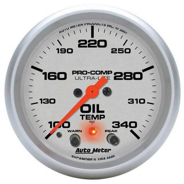 2-5/8in U/L Oil Temp Gauge w/Peak & Warning