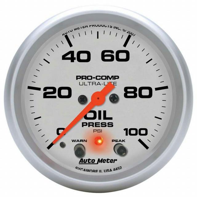 2-5/8in U/L Oil Pressure Gauge w/Peak & Warning