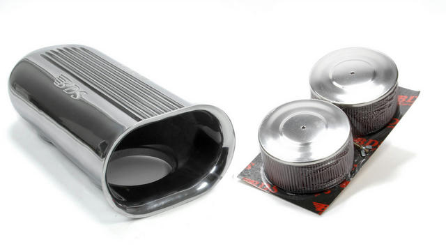 Polished Aluminum Dual Carb Scoop w/Air Filters
