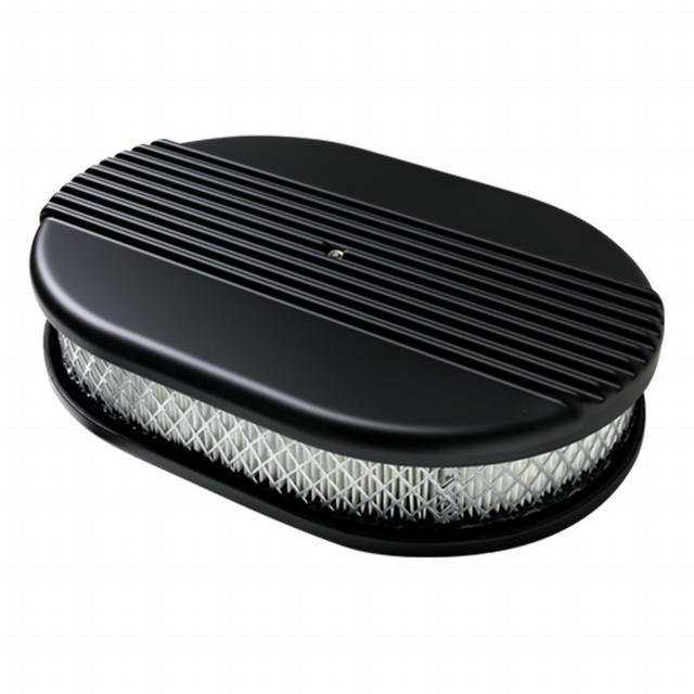 Air Cleaner Small Oval Ribbed Black