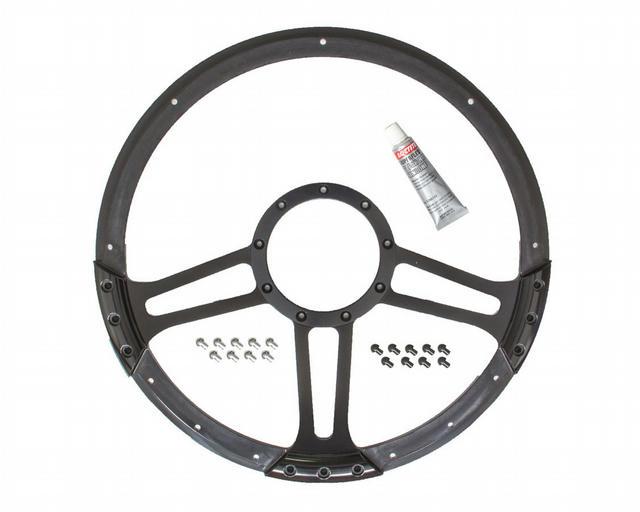 14in Draft Steering Wheel Black Half Wrap