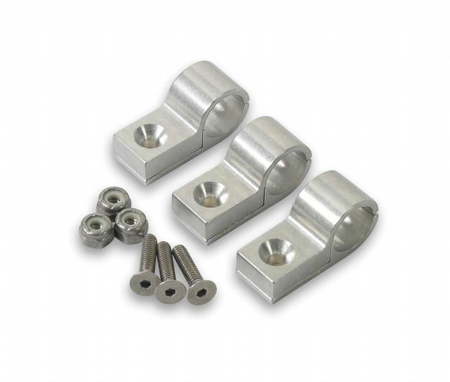 9/16in Polished Aluminum Line Clamps (3pk)