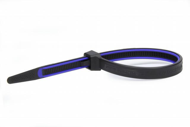 GripLockTies 8.0in OAL Blue Rubber 15pk