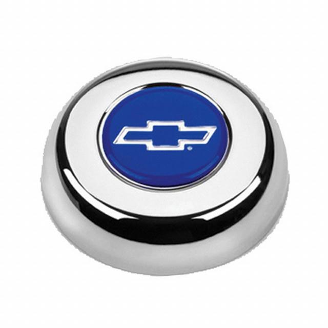 Chrome Horn Button Chevy Bowtie Blue/Silver