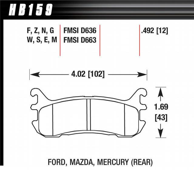 Street Brake Pads Rear Miata HP Plus