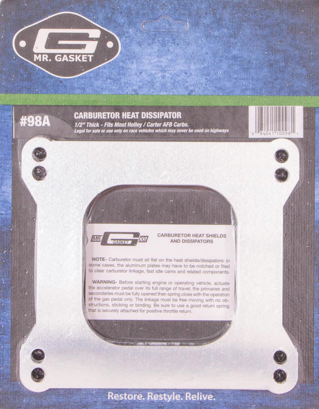 Carb. Dissipator 1/2in Thick- Open Center