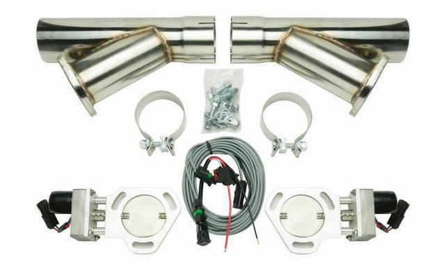 Dual Electric Exhaust Cutout 3in w/Y-Pipes