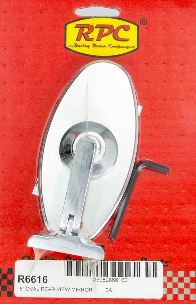 Chrome Steel Oval 5in Interior Mirror