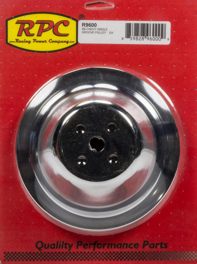 Chrome Steel Water Pump Pulley SBC Short 7.1 Dia