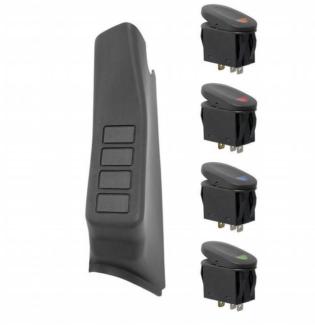A-Pillar 4 Switch Pod Ki t  Black LHD 11-18 Wrang