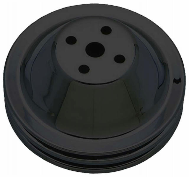 SBC SWP Water Pump Pulley 2 Groove Black
